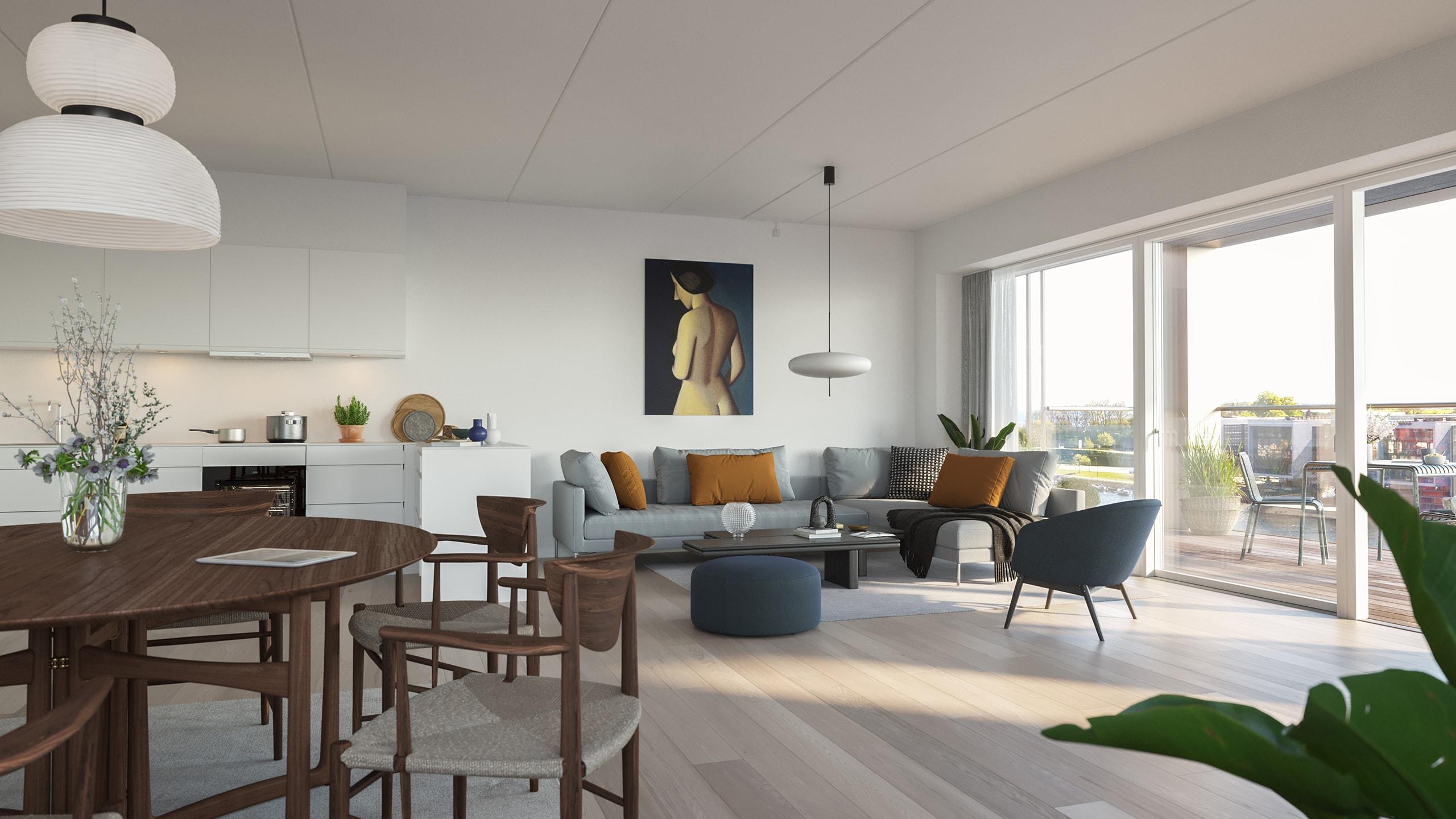 Kongebro-Huset - Lejlighed 23 - Type A, 4. sal - Stue og Køkken