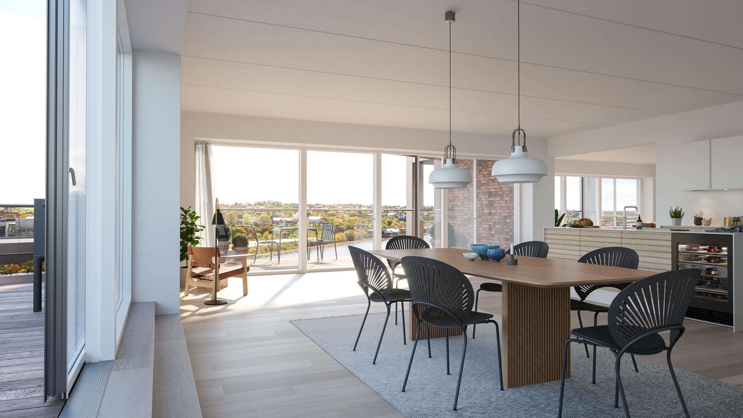 Kongebro-Huset - Lejlighed 28 - Penthouse, 6. sal - Stue og Køkken